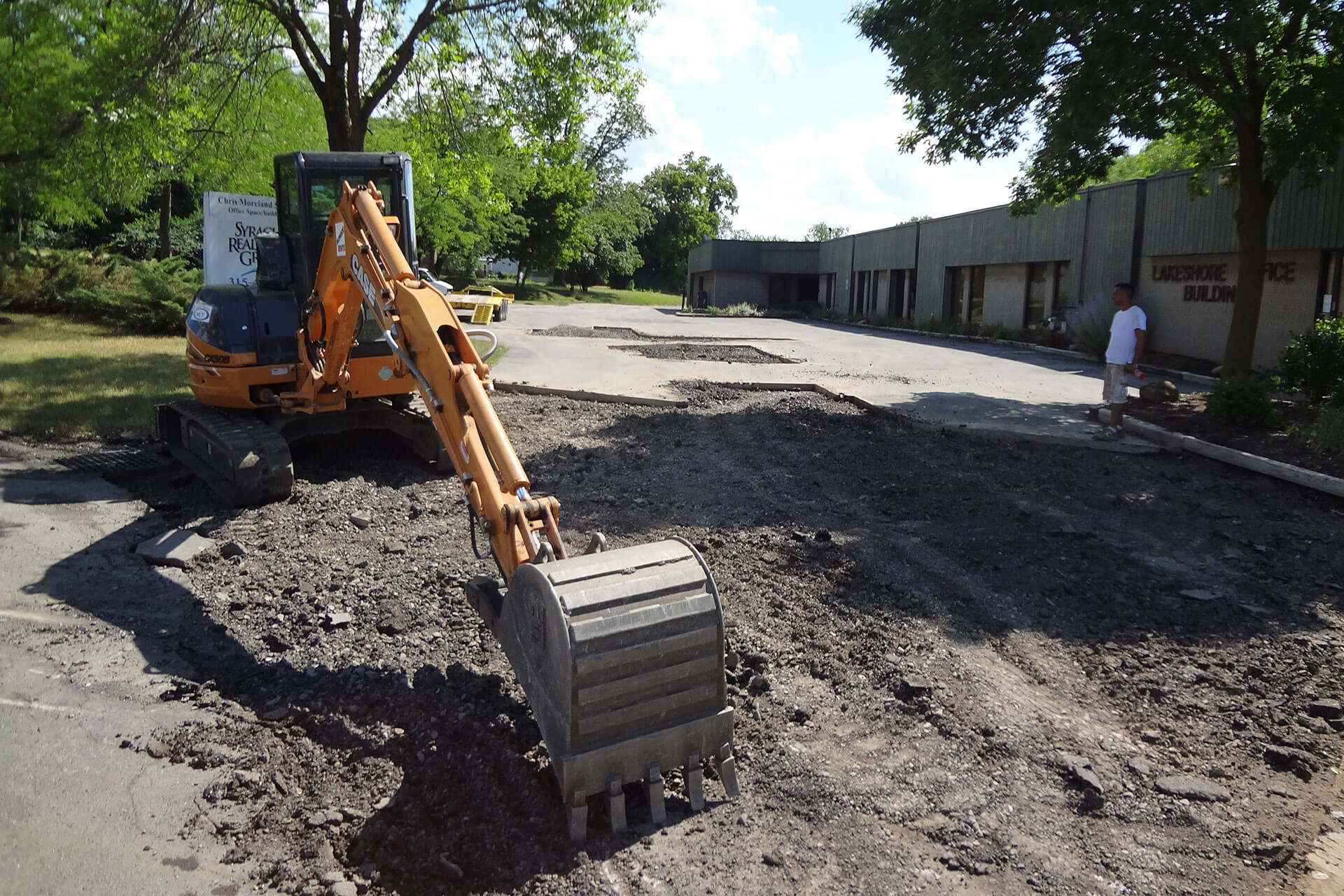 digging up an old parking lot
